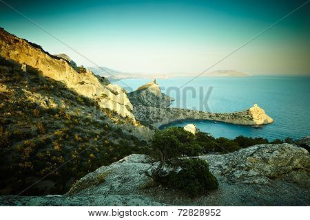 Mountains And Sea At Sunset. Crimea Landscape