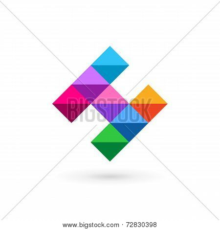 Letter H mosaic logo icon design template elements. Vector color sign.