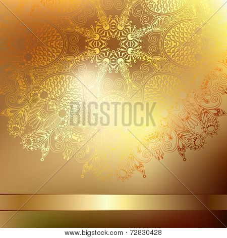 Gold elegant flower background with a lace pattern, luxury greet