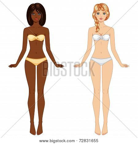 Two young barefoot girls from different ethnic groups in underwe