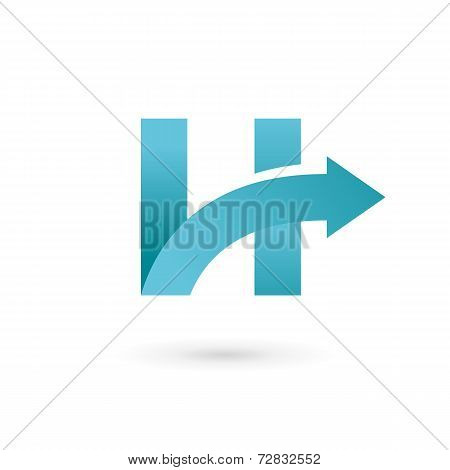 Letter H arrow logo icon design template elements. Vector color sign.