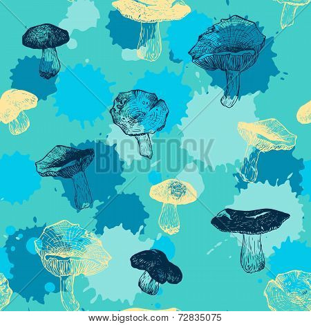 vector seamless pattern with drawing mushrooms