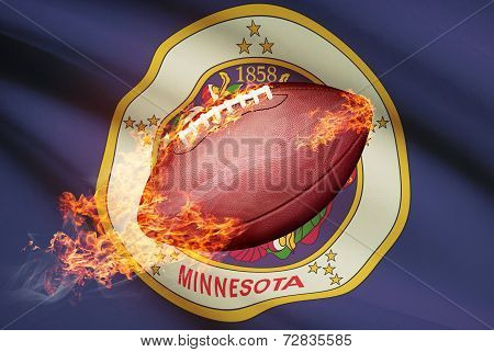 American Football Ball With Flag On Backround Series - Minnesota