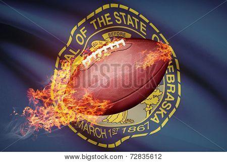 American Football Ball With Flag On Backround Series - Nebraska
