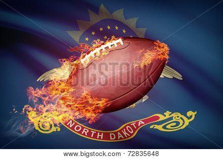 American Football Ball With Flag On Backround Series - North Dakota