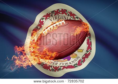 American Football Ball With Flag On Backround Series - Virginia