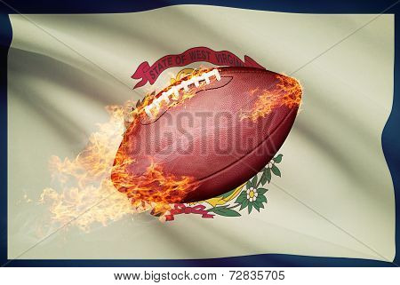 American Football Ball With Flag On Backround Series - West Virginia
