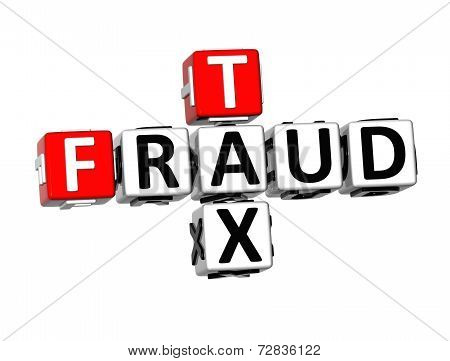 3D Crossword Fraud Tax On White Background