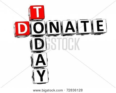 3D Crossword Donate Today On White Background