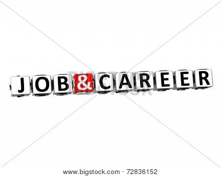 3D Word Job And Career On White Background