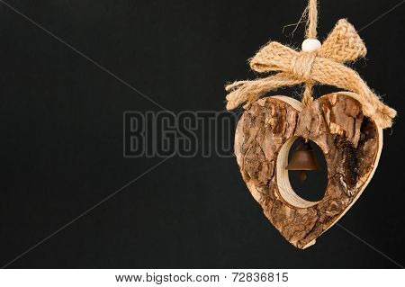 Bark Wooden Heart On A Rope With Little Opaque Brass Bell In The Middle