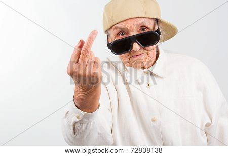 Cool Grandma Showing Her Middle Finger