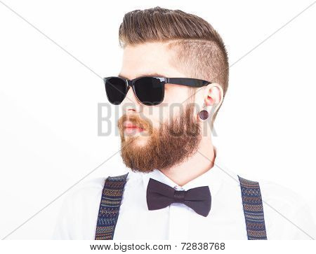 Hipster Portrait Isolated On White