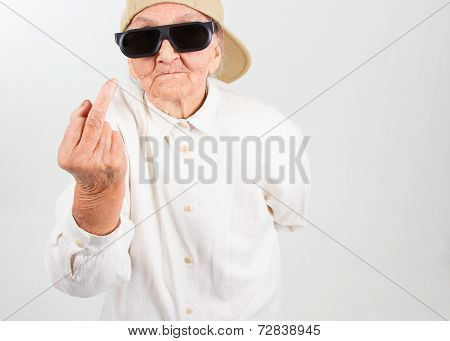 Cool Grandma Showing Her F-finger