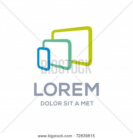 Computer laptop tablet phone logo icon design template. Vector color sign.