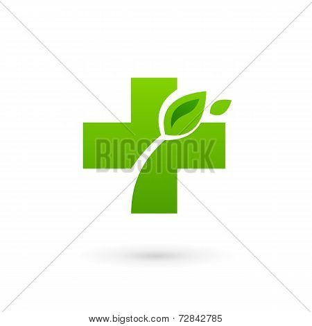 Medical eco logo icon design template with cross and plus. Vector sign.