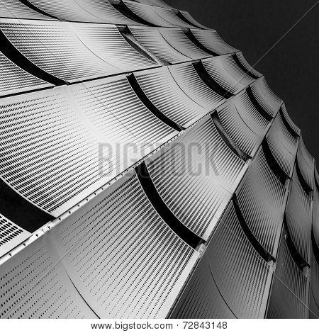 Facade of a building, consisteng of perforated metal