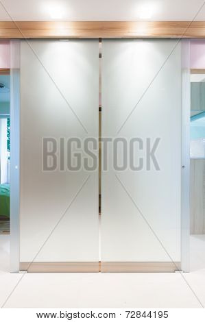 Glass Door In Modern Apartment