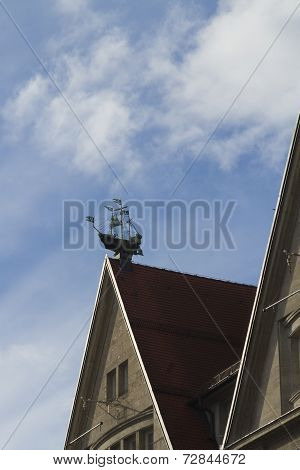 Roof Decoration, Sailing Ship, Of Oberpollinger Department Store Munich