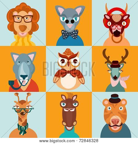 Hipster animal icons