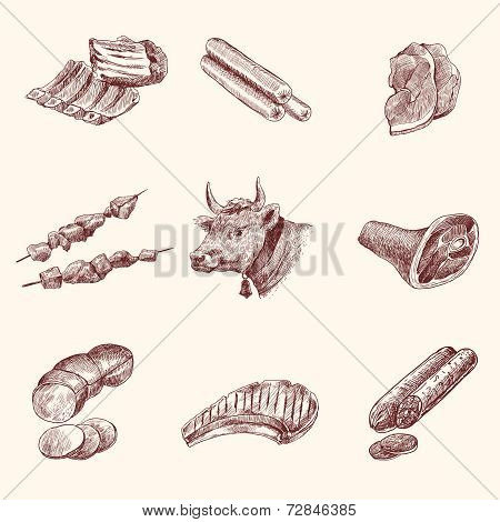 Sketch meat icons