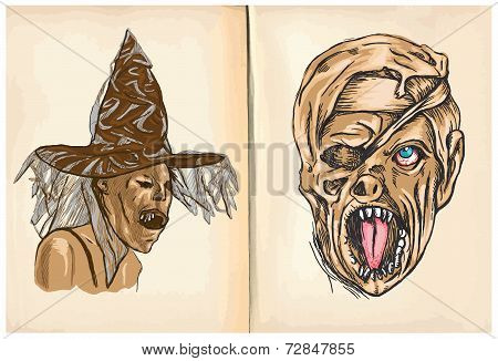 Witch And Monster Mummy - Hand Drawings, Vector