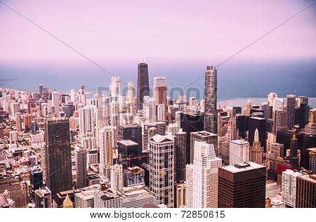 Modern Chicago Skyline Aerial View
