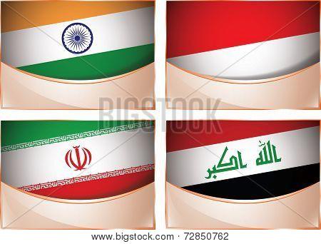 Flags illustration, India, Indonesia, Iran, Iraq