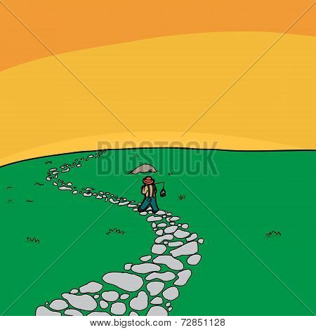Lonely Fisherman Walking