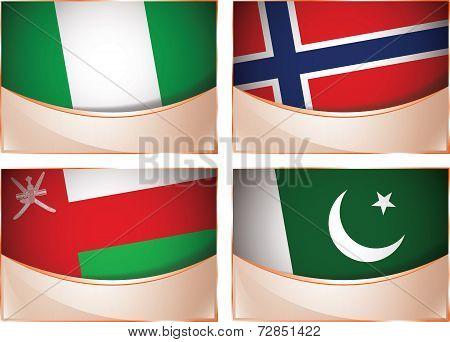 Flags illustration, Nigeria, Norway, Oman, Pakistan