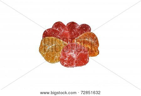 Gelatin With Sugar On A White Background