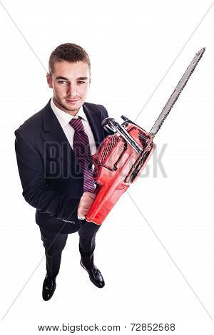 Red Chainsaw Businessman