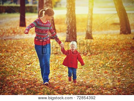 Happy Family Mother And Child Little Daughter On Autumn Walk