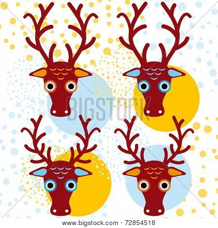 Four Brown Deer On An Orange Light Blue Background. New Year. Winter. Vector