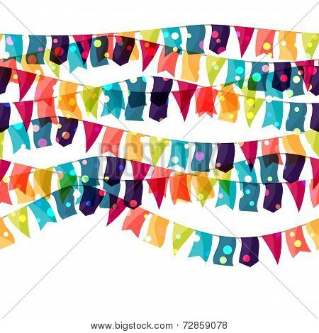 Holiday celebration seamless pattern with shiny colored flags.