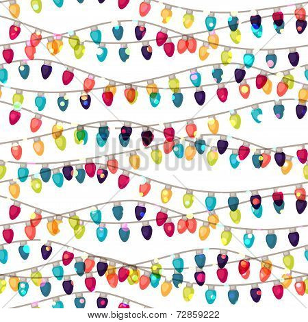 Holiday seamless pattern with shiny colored garland bulbs.