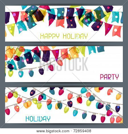 Holiday colorful horizontal banners with flags and garland.
