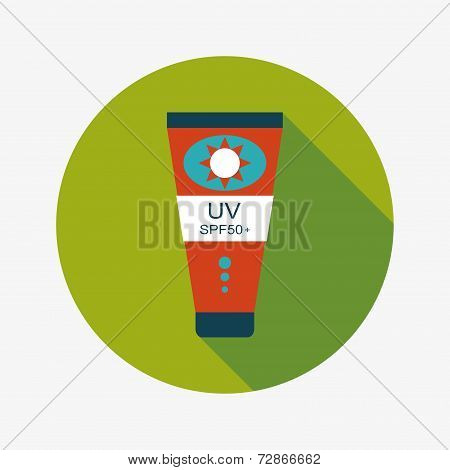 Sunscreen Flat Icon With Long Shadow
