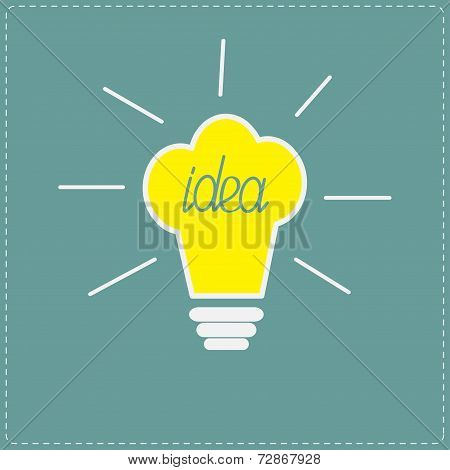Chef Hat Yellow Idea Light Bulb With Shining Lines. Flat Design Style.
