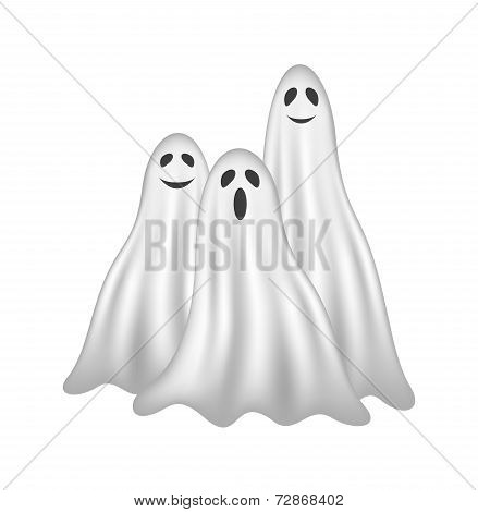 Three ghosts in white design