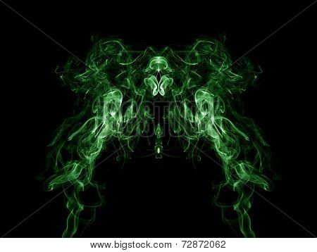 Green Smoke Pattern On Black Background