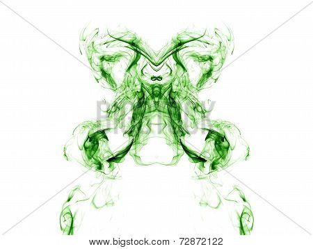 Green Smoke On White Background