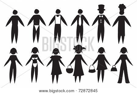 Black Icon Men And Women In Different Outfit