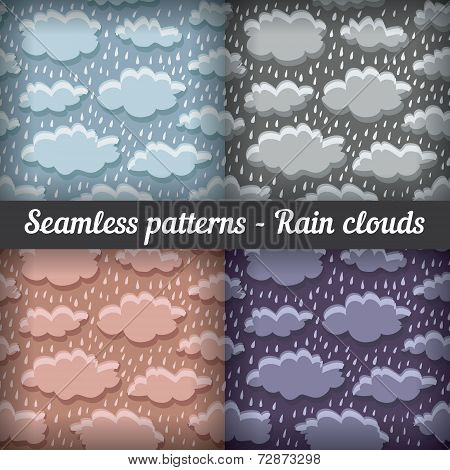 Rain clouds. Storm. Seamless pattern. Vector set.