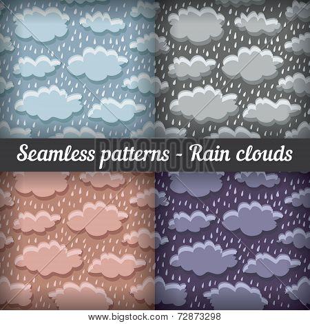 Rain clouds. Storm. Seamless pattern. Vector set.