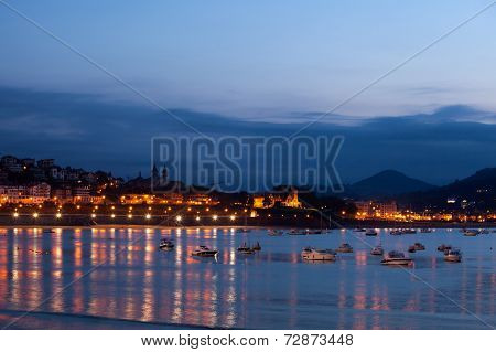San Sebastian Bay at Night, Spain
