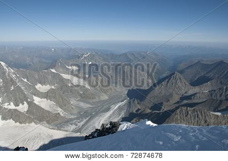 Views of the Altai mountains from the top of mount Belukha