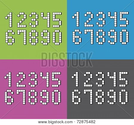 Set Of Flat Pixel Numbers On Four Different Color Backgrounds