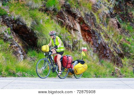 Unidentified cuple of cyclists going to road in Fagaras Mountain