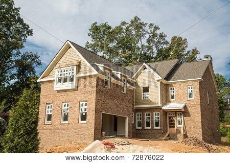 Brick Home Construction With New Windows